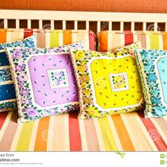 Purple Living Room Chair Baby Floor Colorful Pillows, On Sofa Royalty Free Stock Images - Image: 20725319