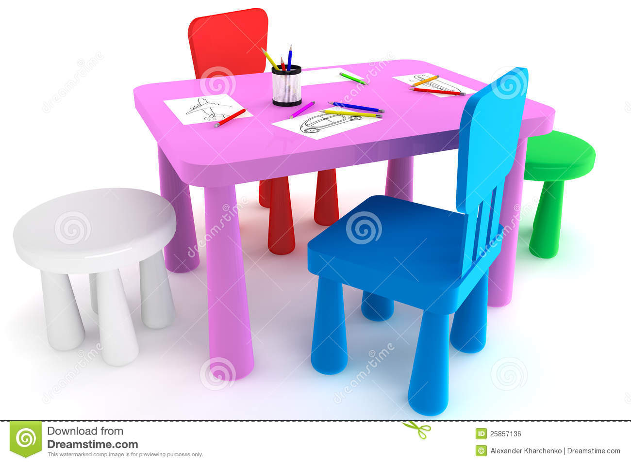 Kids Plastic Table And Chairs Colorful Plastic Kid Chairs And Table Royalty Free Stock