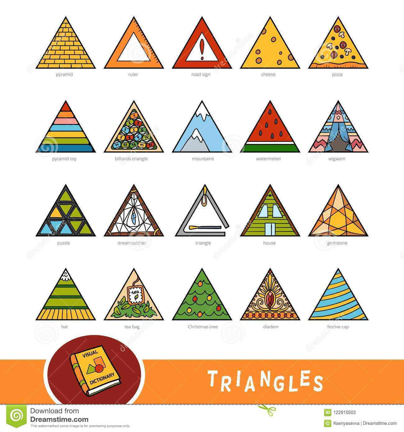 Colorful Set Of Triangle Shape Objects Visual Dictionary