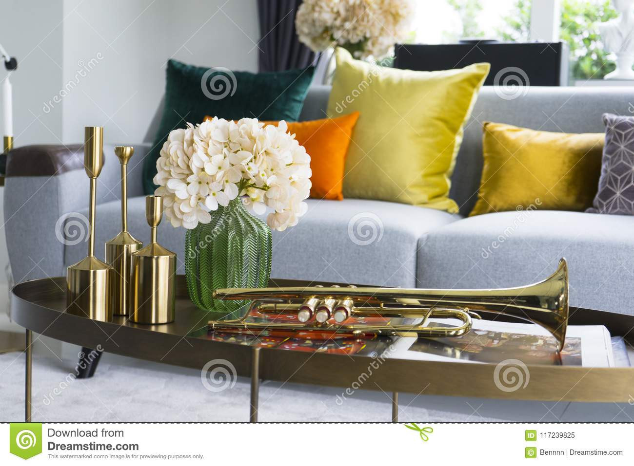 living room flower vases paint colors for with grey couch colorful and stylish vase stock image