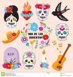 colorful symbols dia de los muertos holiday day of the dead vector  [ 1300 x 1390 Pixel ]