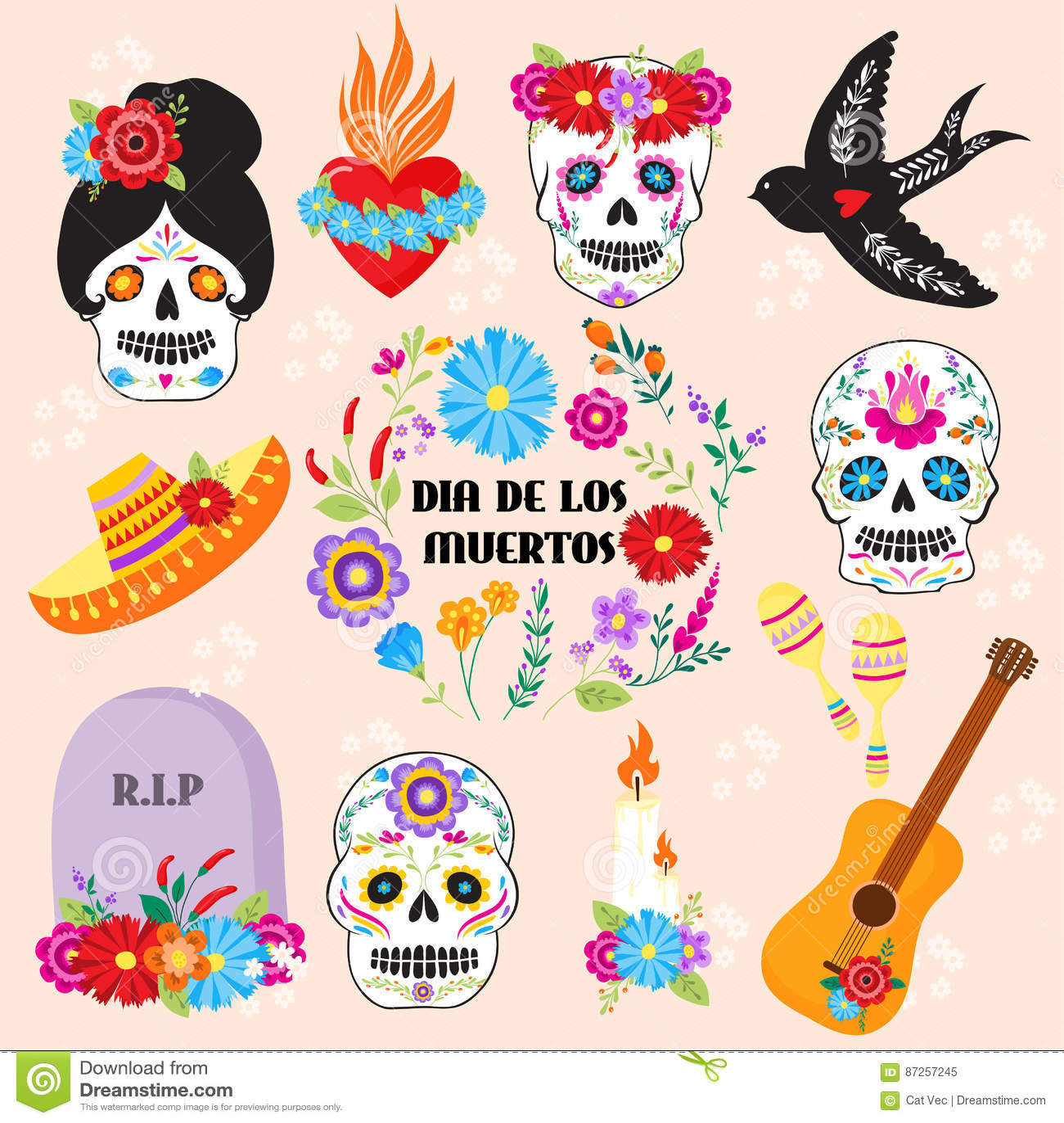 hight resolution of colorful symbols dia de los muertos holiday day of the dead vector