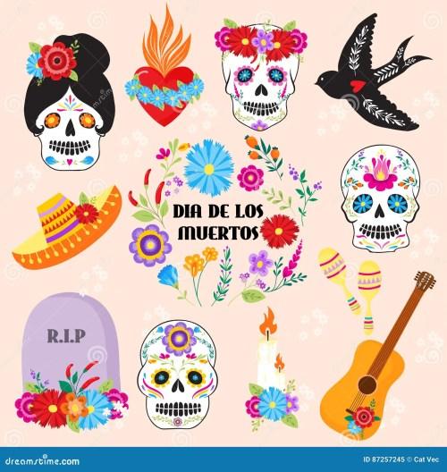 small resolution of colorful symbols dia de los muertos holiday day of the dead vector