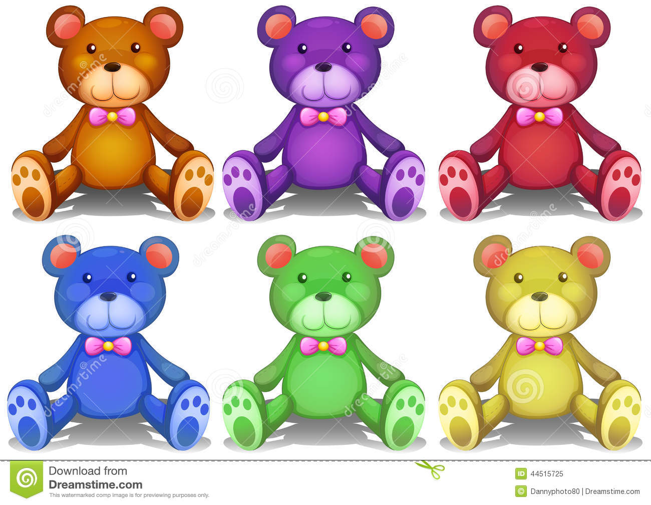Colorful Teddy Bears Stock Vector
