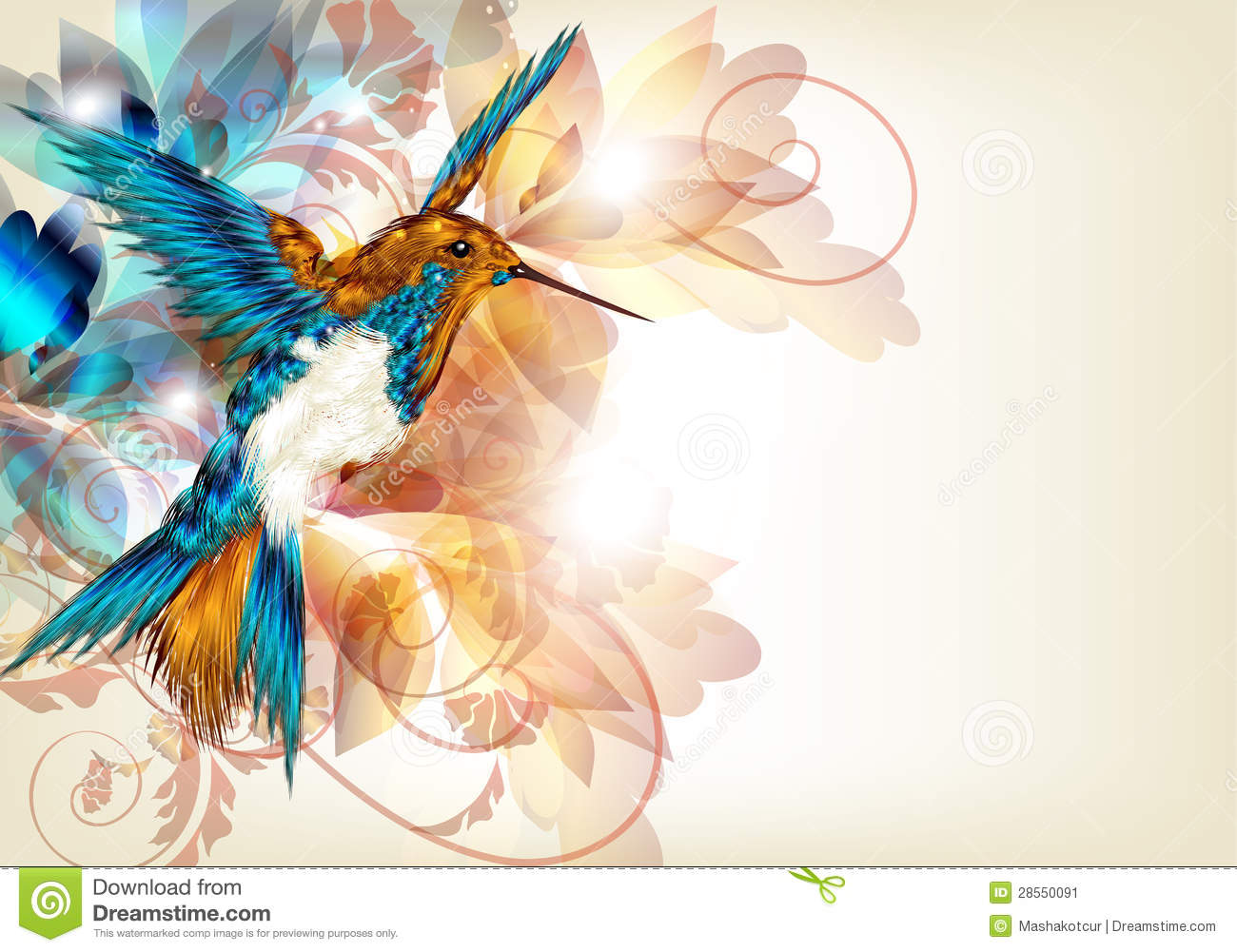 Colorful Vector Design With Realistic Hummingbird And Floral O Stock Image  Image 28550091