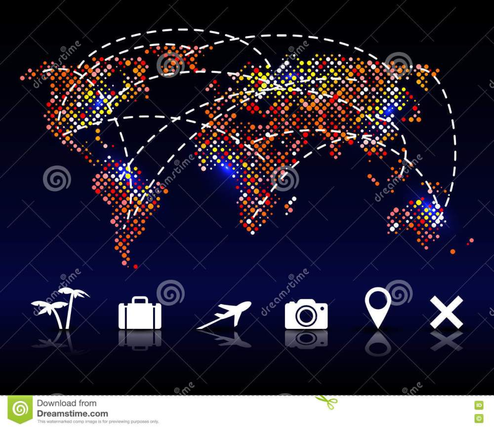 medium resolution of colorful vector pixel world map with travel icons illustration 78581509 megapixl