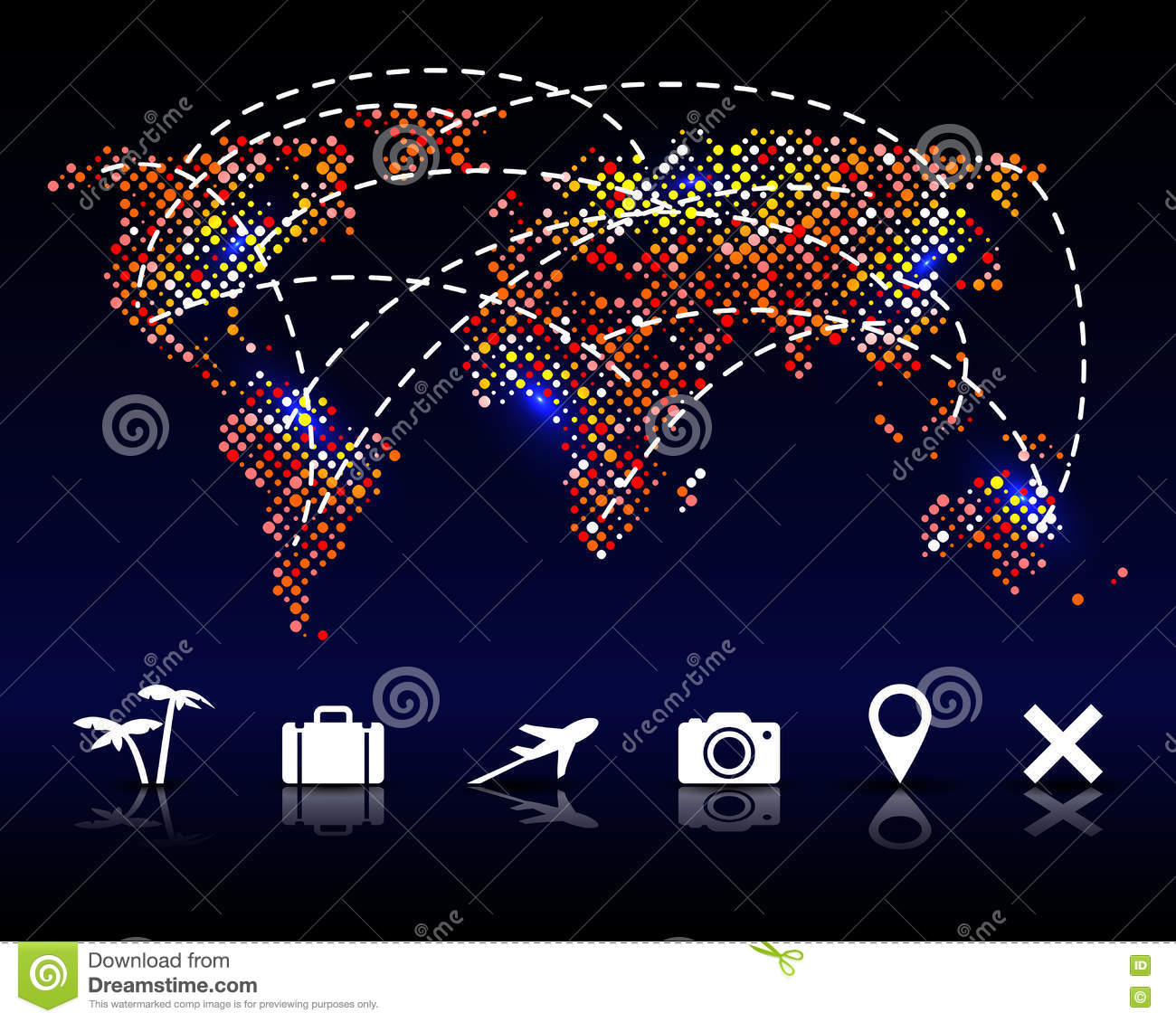 hight resolution of colorful vector pixel world map with travel icons illustration 78581509 megapixl