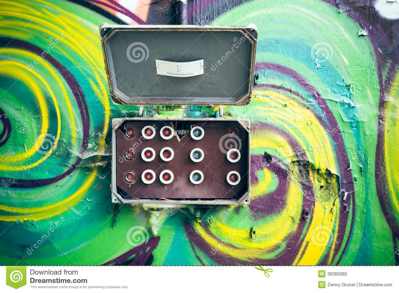 hight resolution of a colorful feature wall with an old fuse box