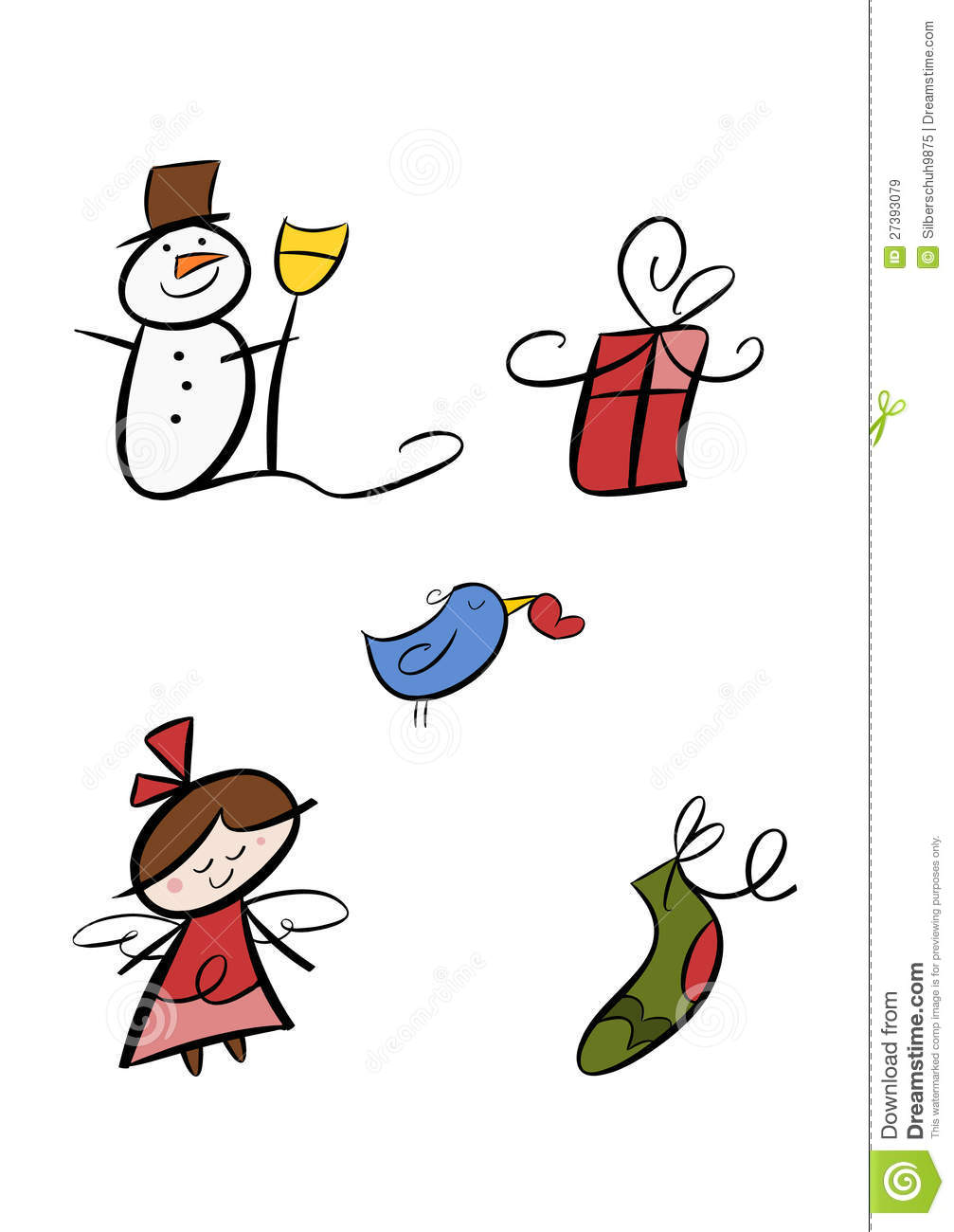hight resolution of colorful winter clipart set