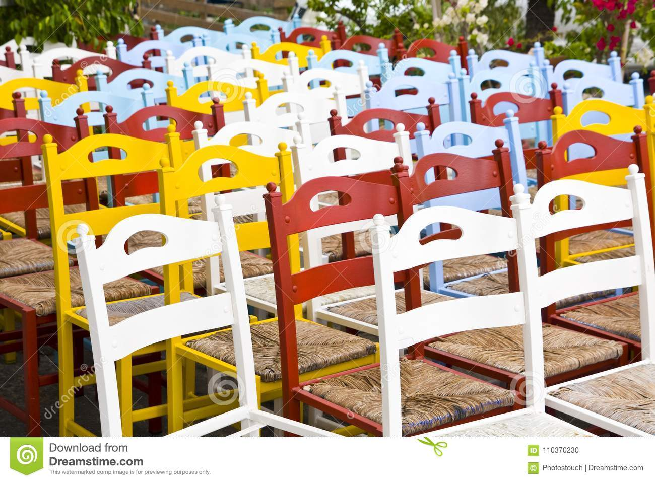 Colorful Wooden Chairs Background Stock Photo  Image of