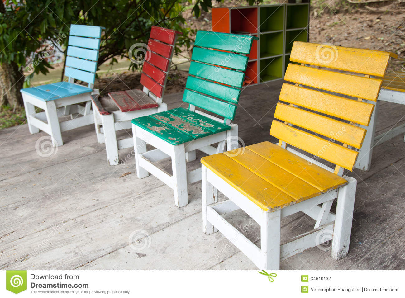 Colorful Wooden Chairs Colorful Wooden Chairs Stock Photography Image 34610132