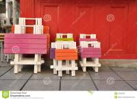Colorful Wooden Tables And Chairs Painted Stock Photos ...