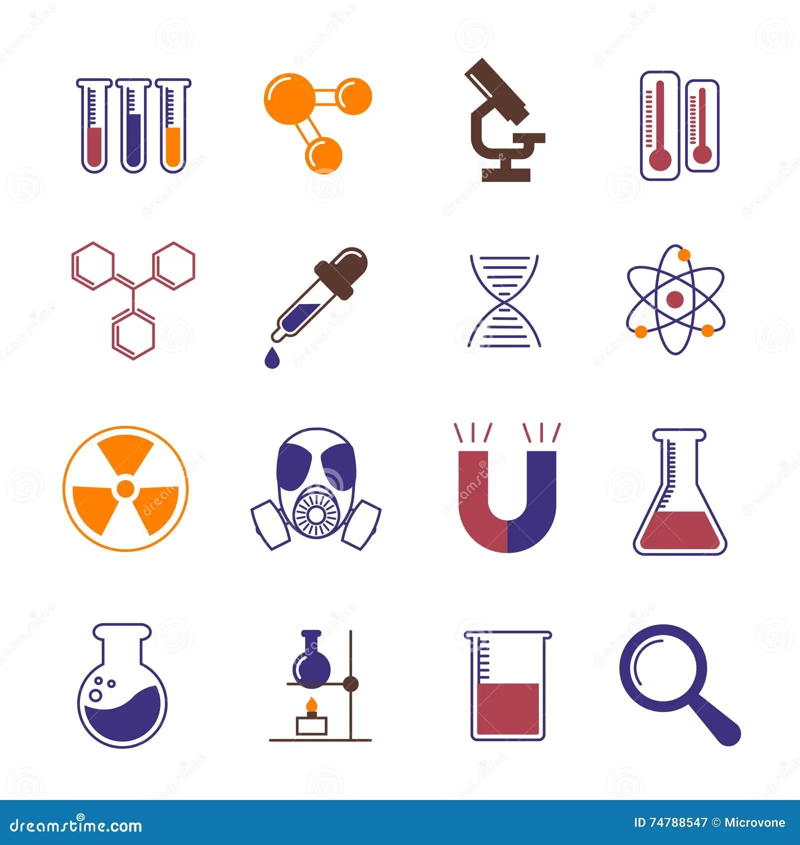 Colori Le Icone Di Vettore Di Chimica Della Ricerca E Di