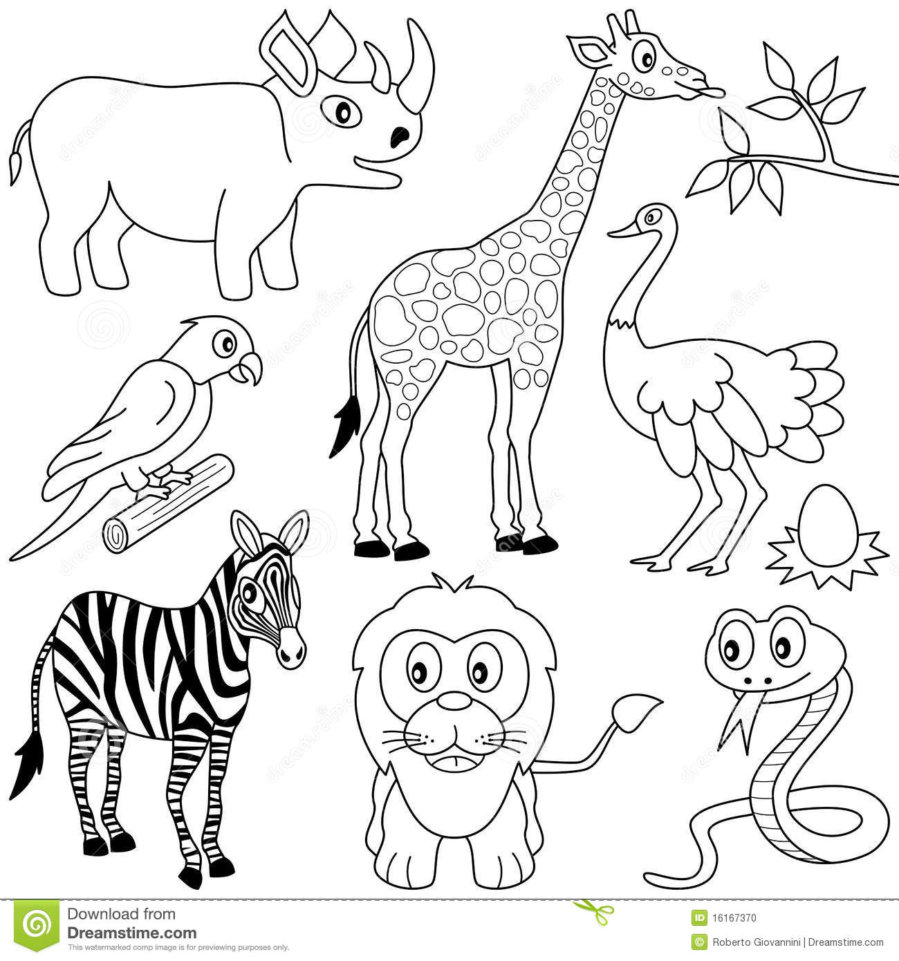 Coloring African Animals 1 Stock Photo
