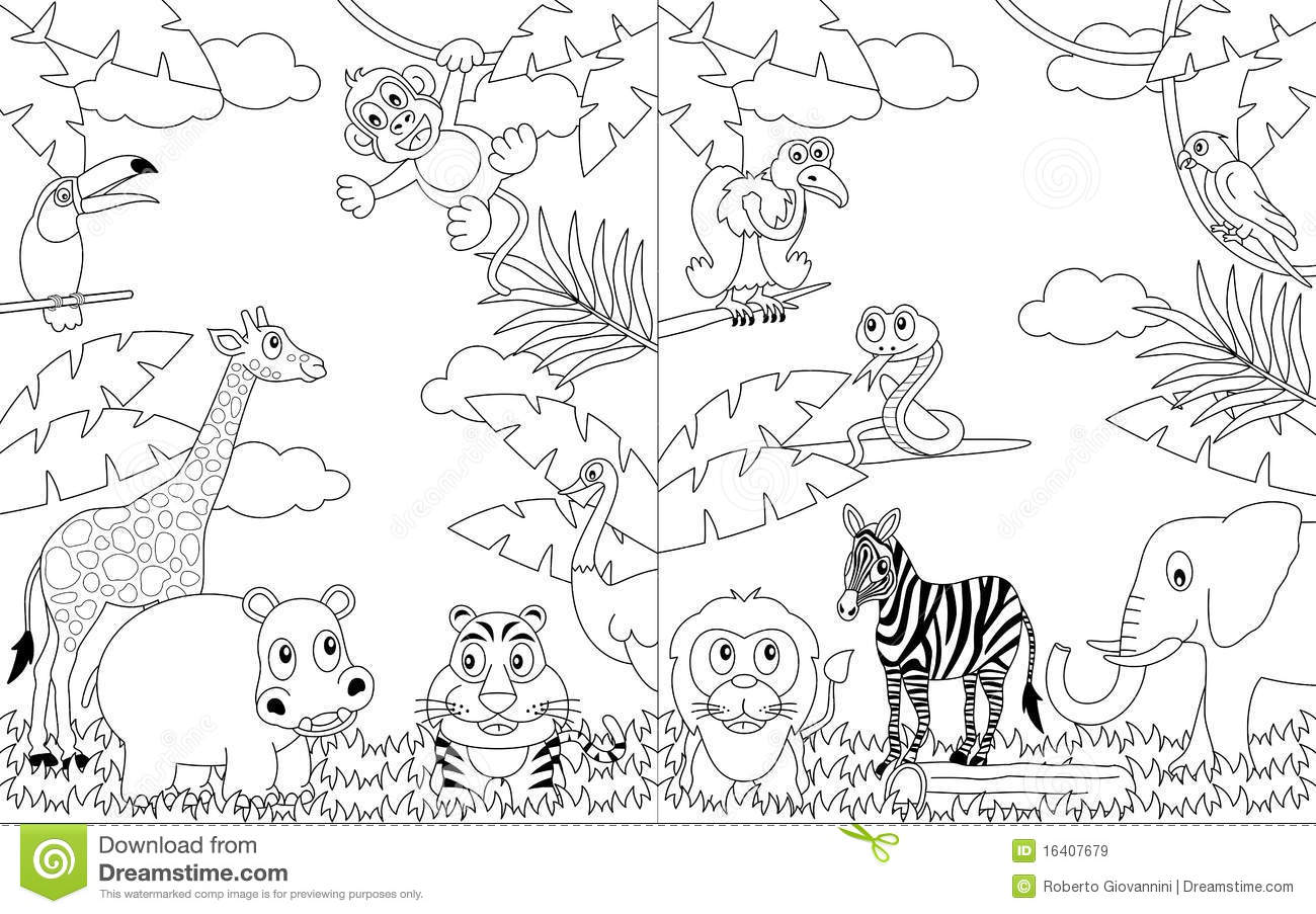 Coloring African Landscapes 2 Stock Vector