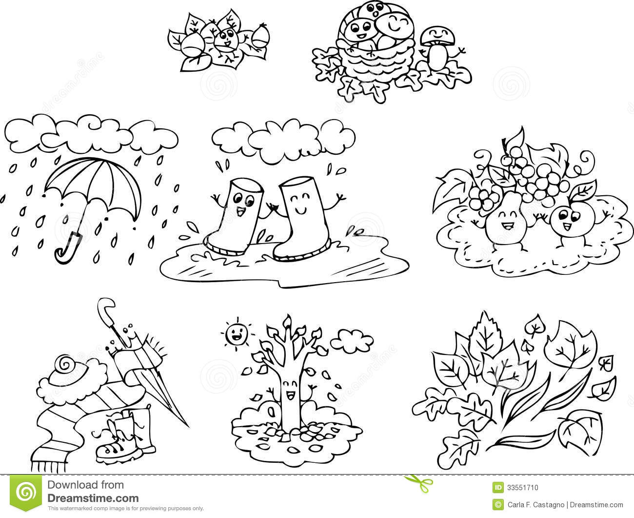 Coloring Autumn Elements Stock Vector Illustration Of