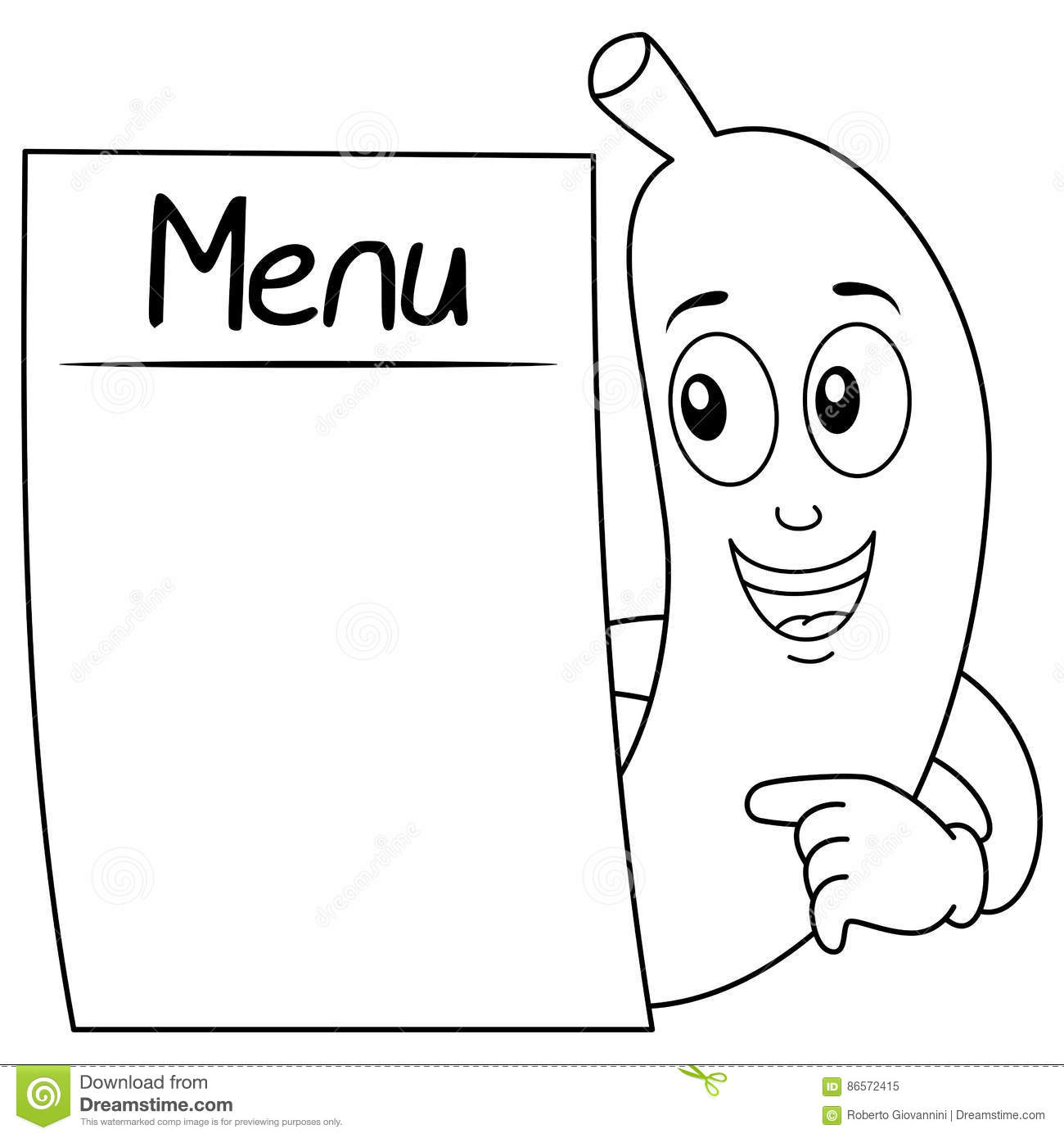 Coloring Banana Character With Blank Menu Stock Vector