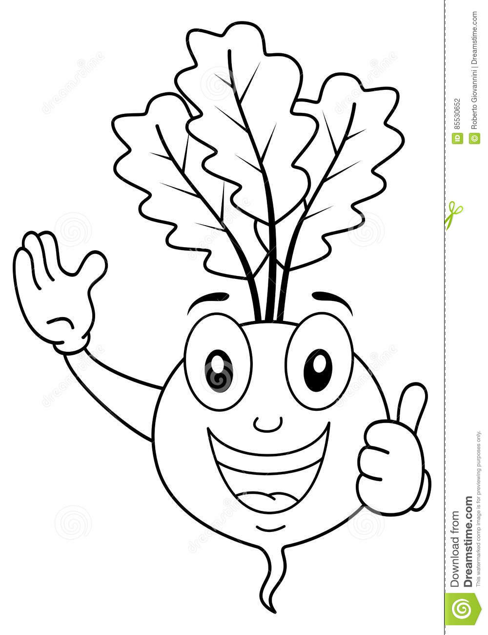 Coloring Beet Character With Thumbs Up Stock Vector