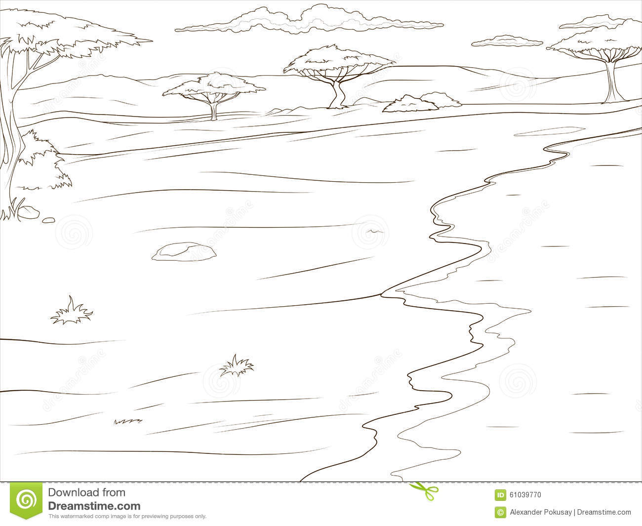 Coloring Book African Savannah Background Stock Vector