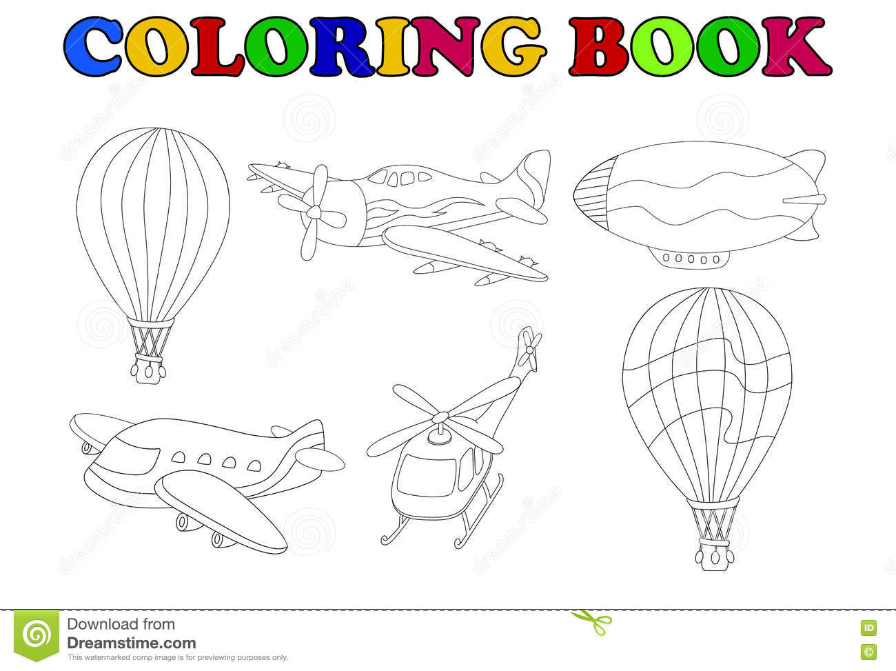 Coloring Book Of Air Transportation Set Cartoon Stock