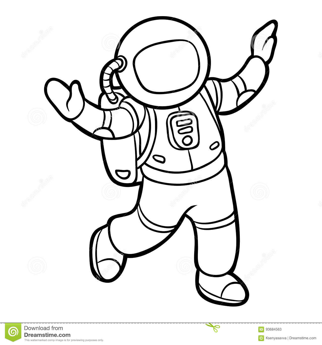 Coloring Book Astronaut Stock Vector Illustration Of