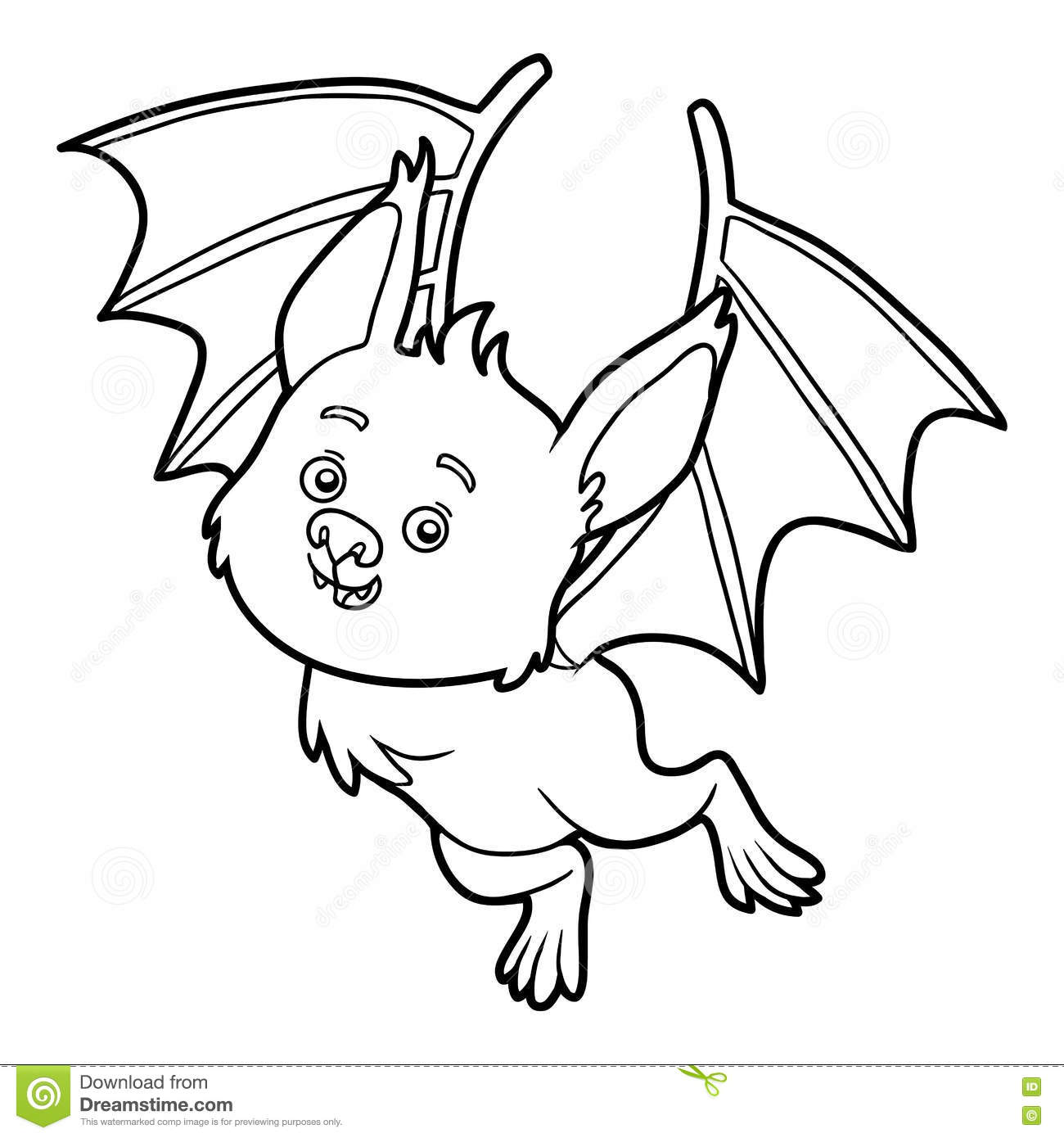 Coloring Book Bat Stock Vector Illustration Of Black