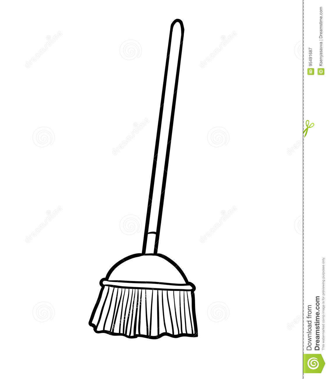 Coloring Book Broom Stock Vector Illustration Of