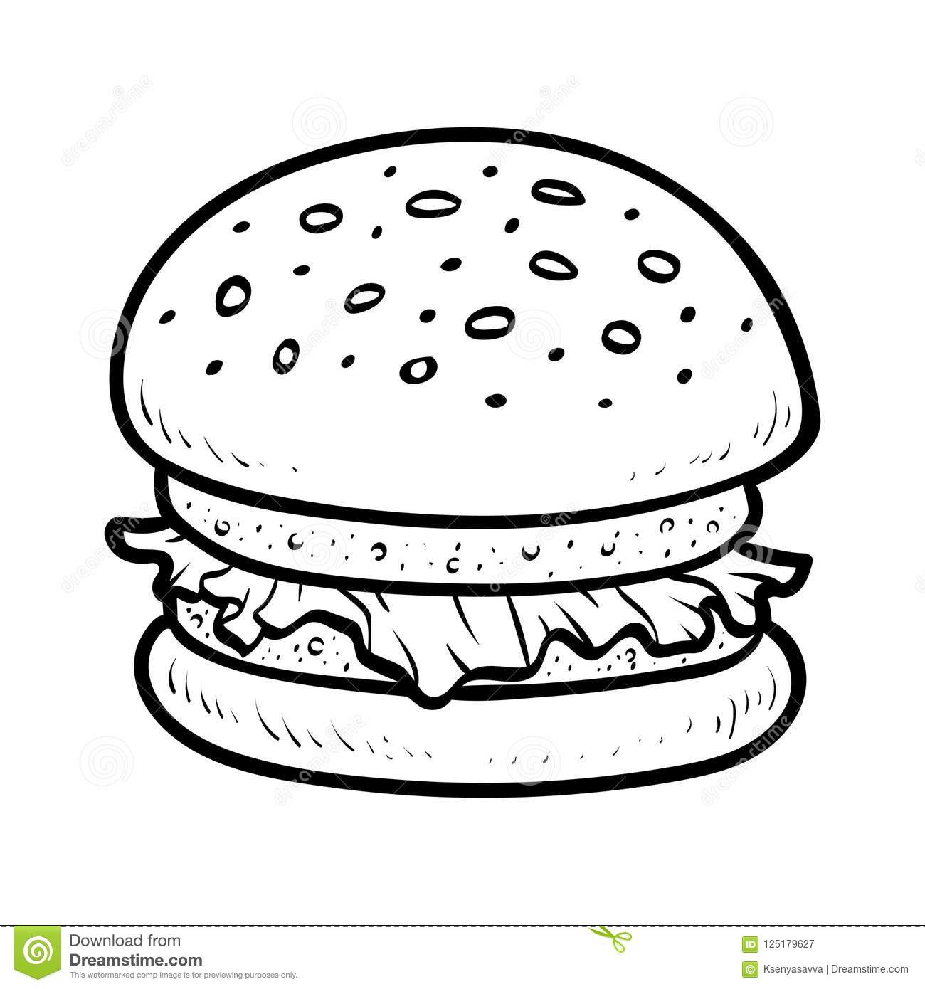 Coloring Book Burger Stock Vector Illustration Of Book