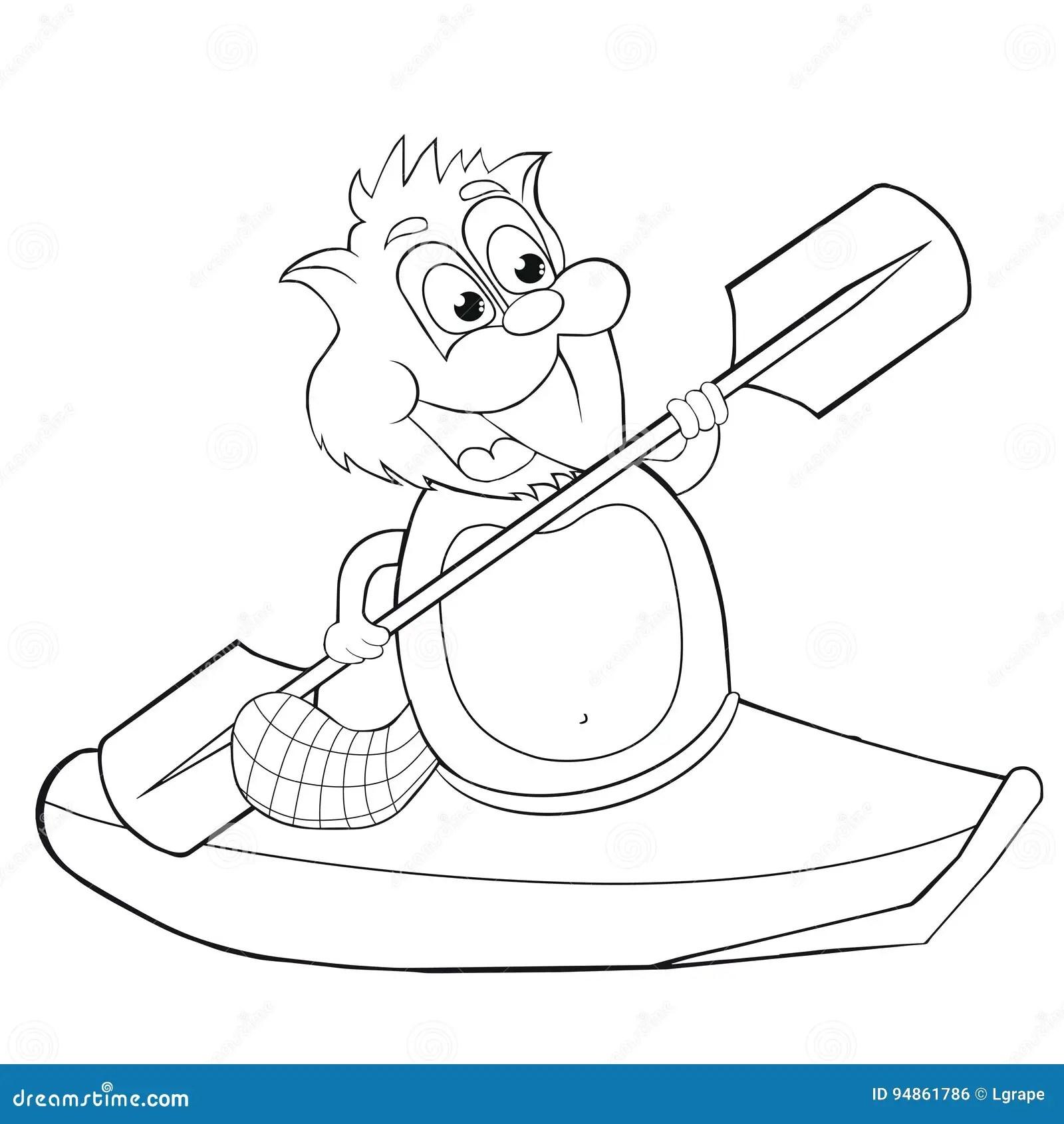 Coloring Book Cartoon Beaver With Canoe Vector Clip Art