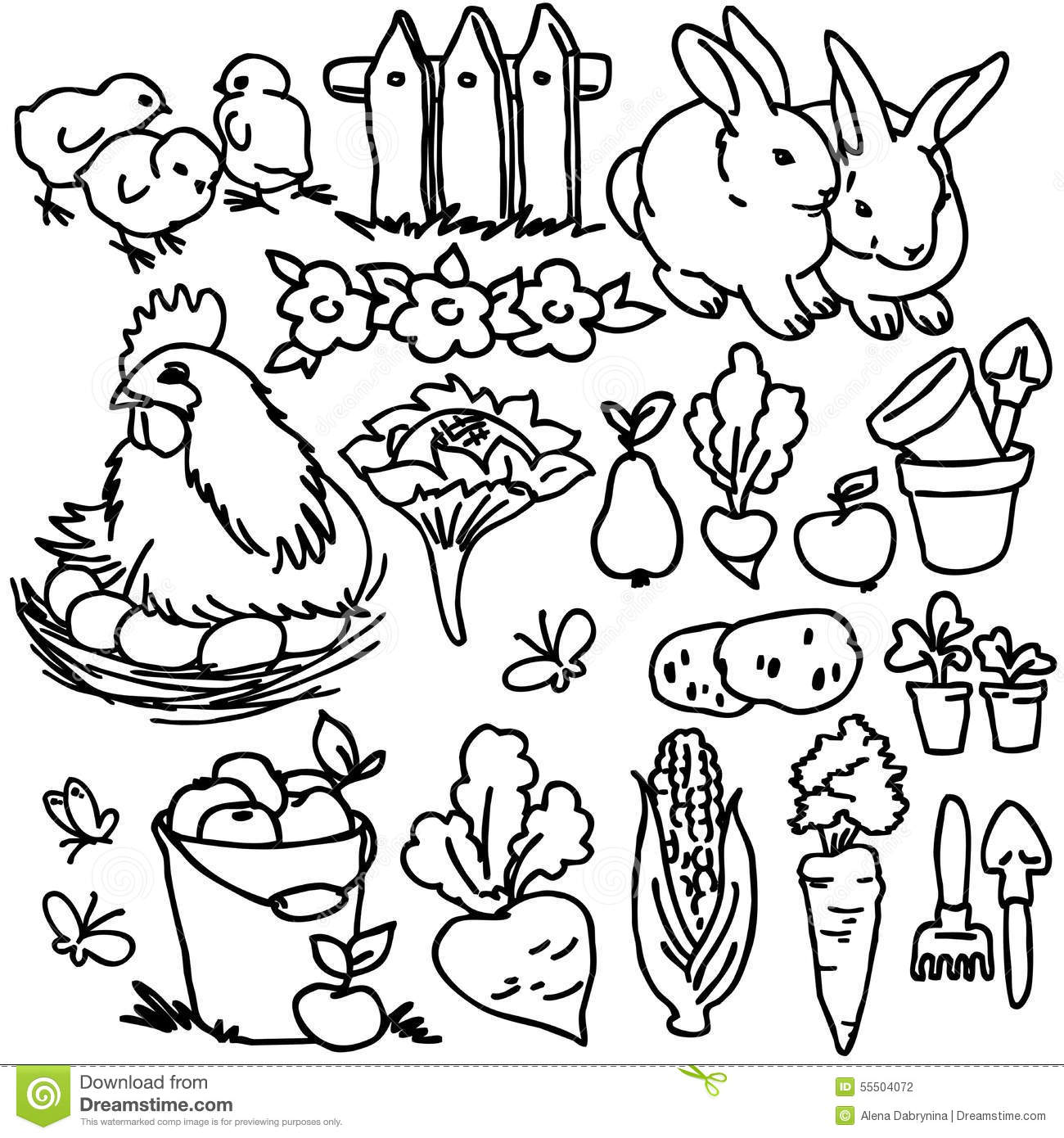 Coloring Book, Cartoon Farm Animals Stock Illustration