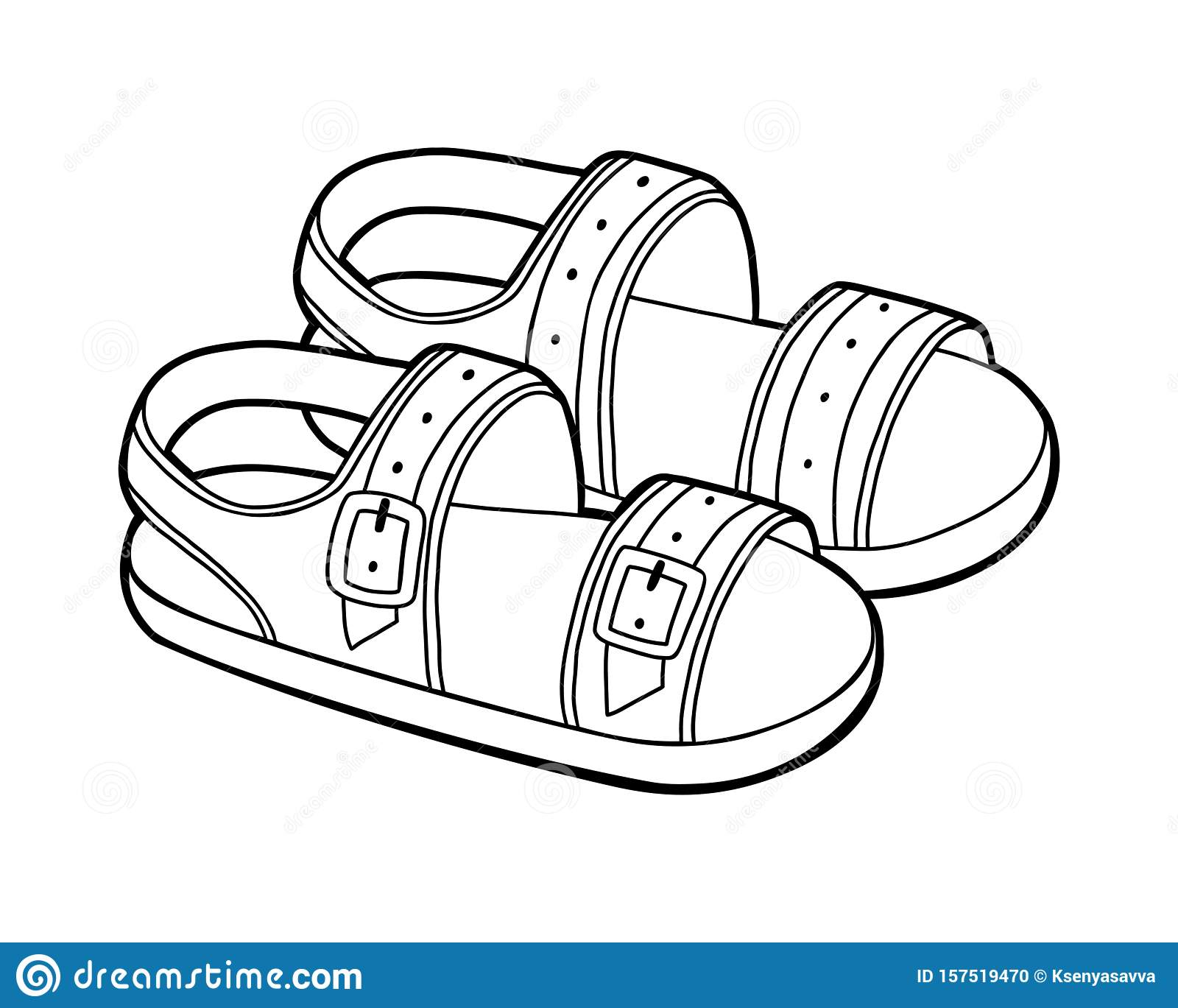 Coloring Book Cartoon Shoe Collection Mens Sandals Stock