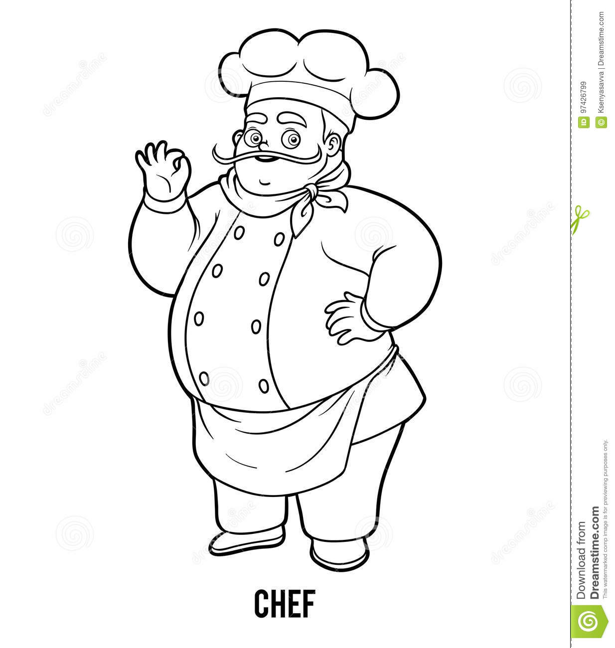 Coloring Book Chef Stock Vector Illustration Of