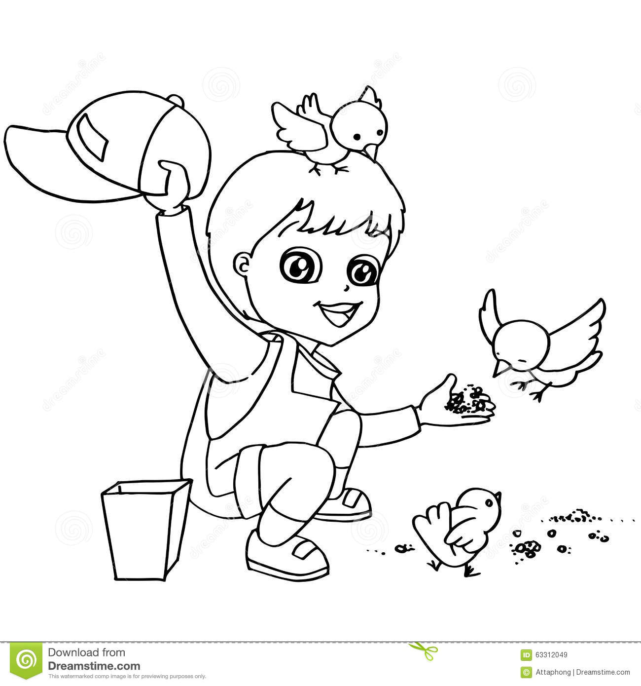 Coloring Book Child Feeding Birds Vector Stock Vector