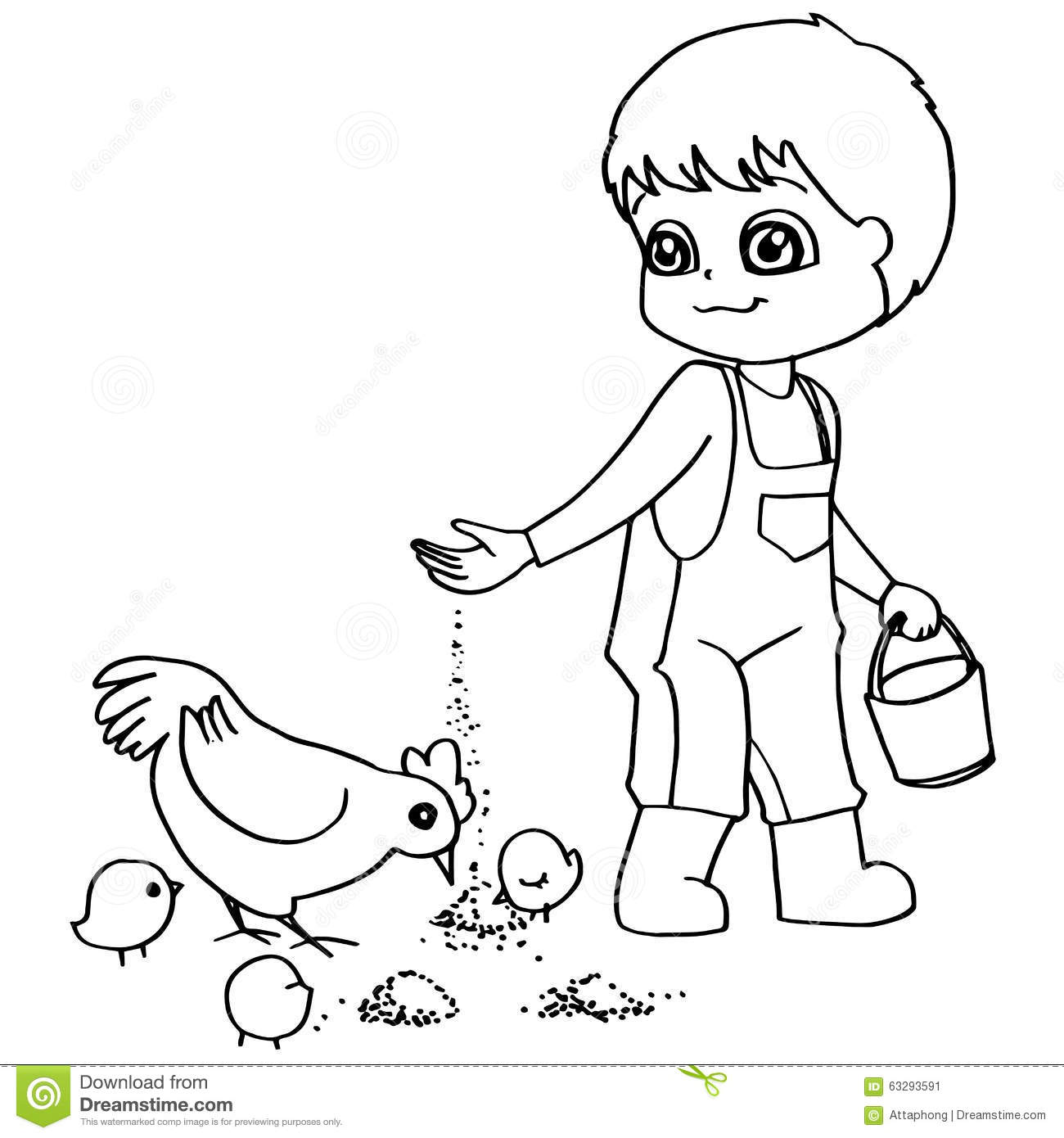 Coloring Book Child Feeding Chickens Vector Stock Vector