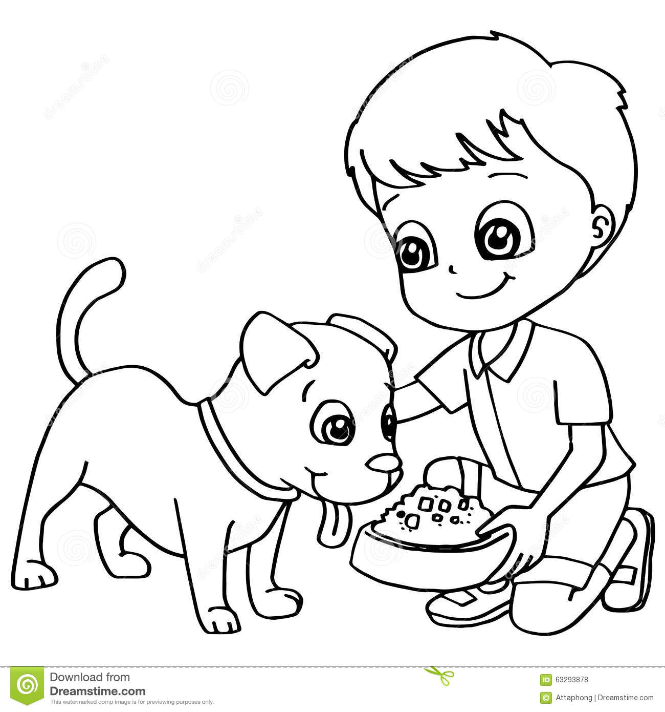 Coloring Book Child Feeding Dog Vector Stock Vector