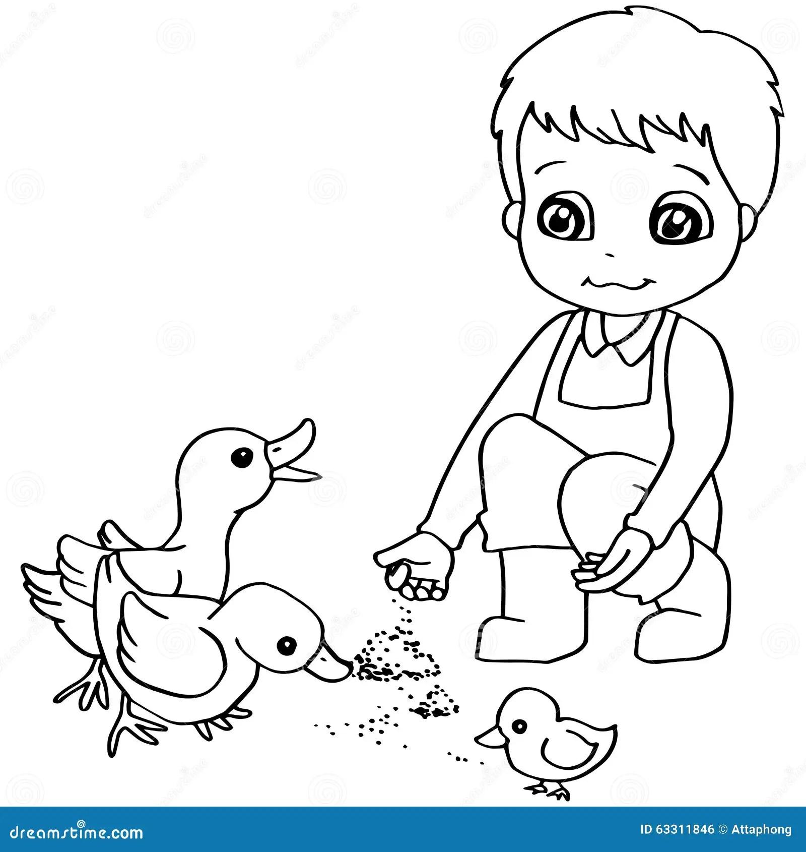 Coloring Book Child Feeding Duck Vector Stock Vector