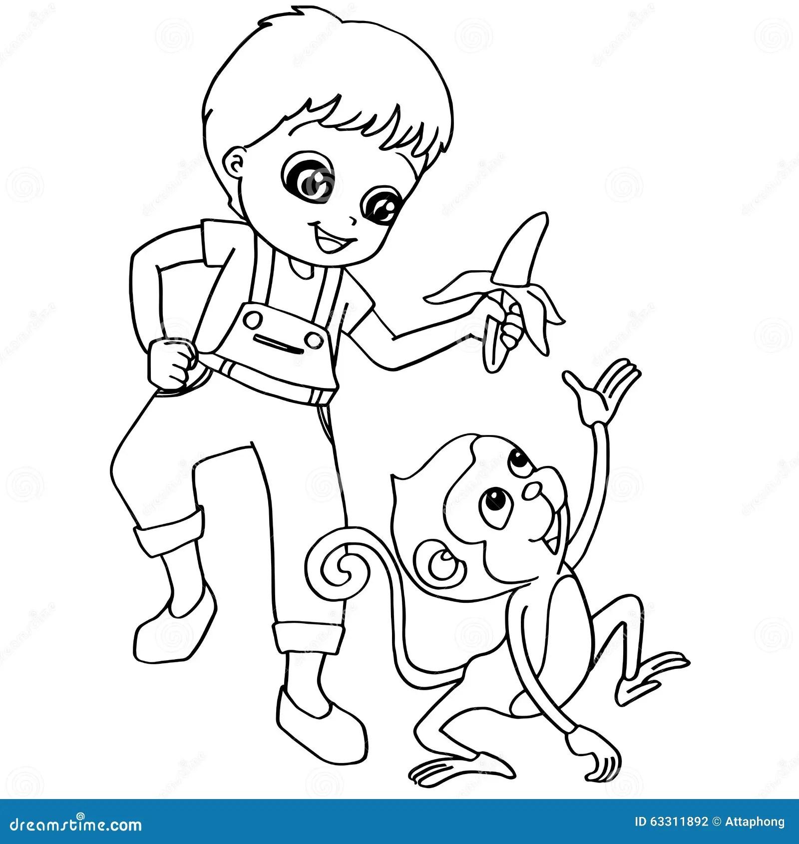 Coloring Book Child Feeding Monkey Vector Stock Vector