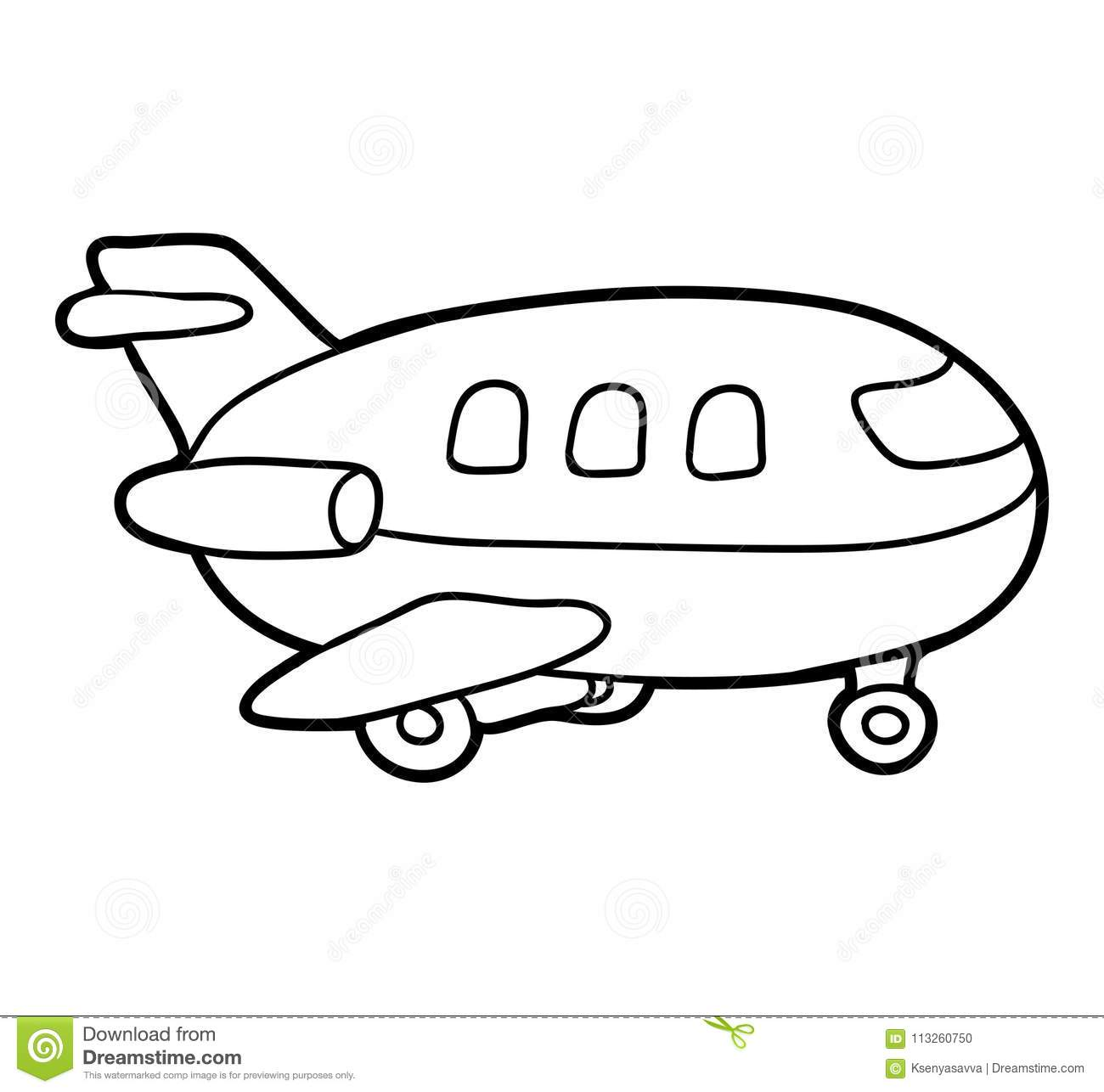 Coloring Book Airplane Stock Vector Illustration Of Page