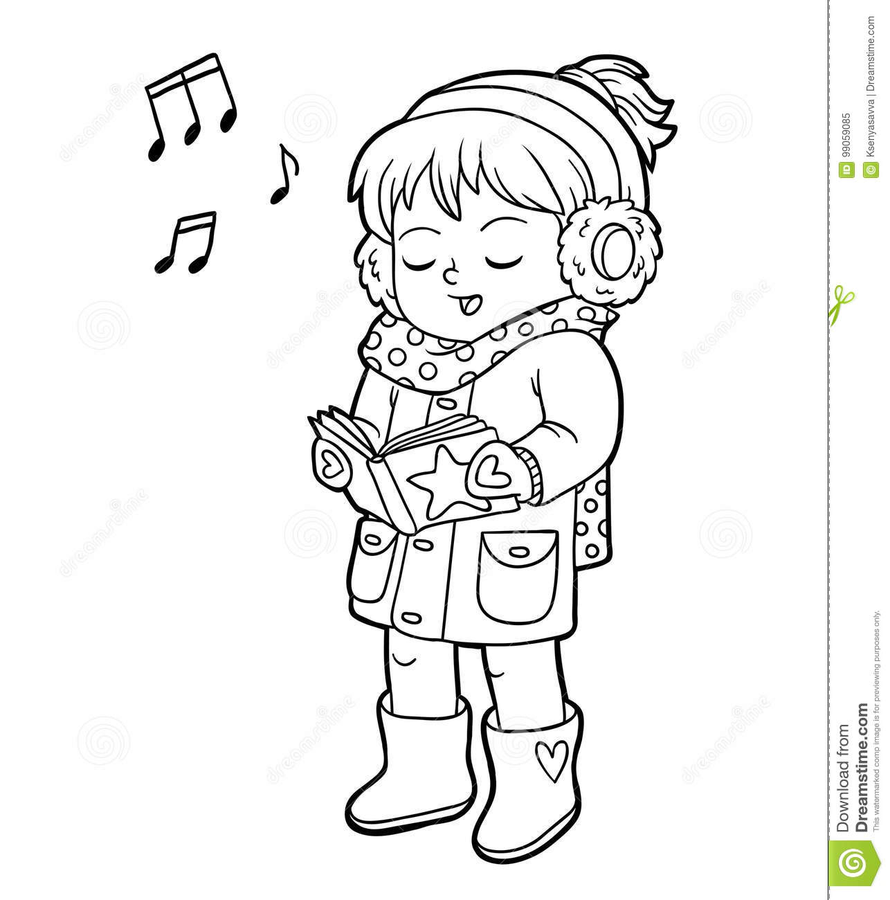 Coloring Book, Girl Singing A Christmas Song Stock Vector