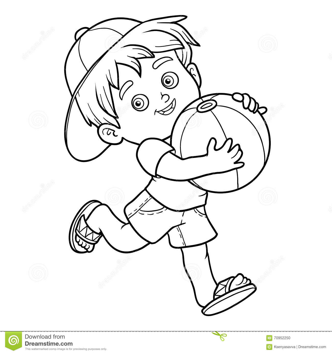 Coloring Book For Children. Little Boy With The Ball Stock