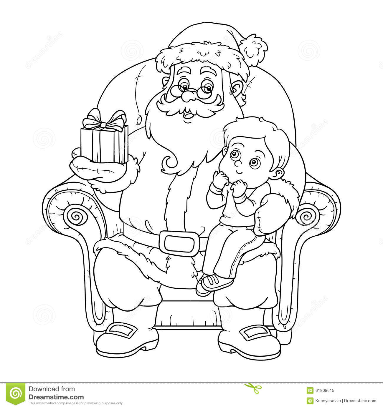 Coloring Book For Children Santa Claus Gives A T A