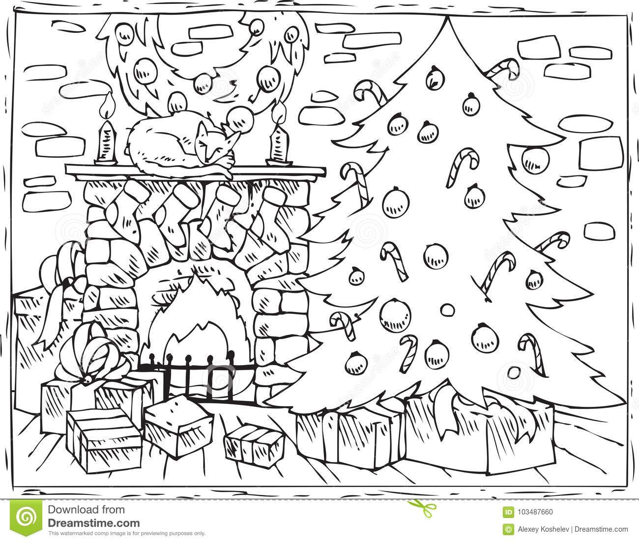 Coloring Book Christmas Tree Fireplace And Ts Stock