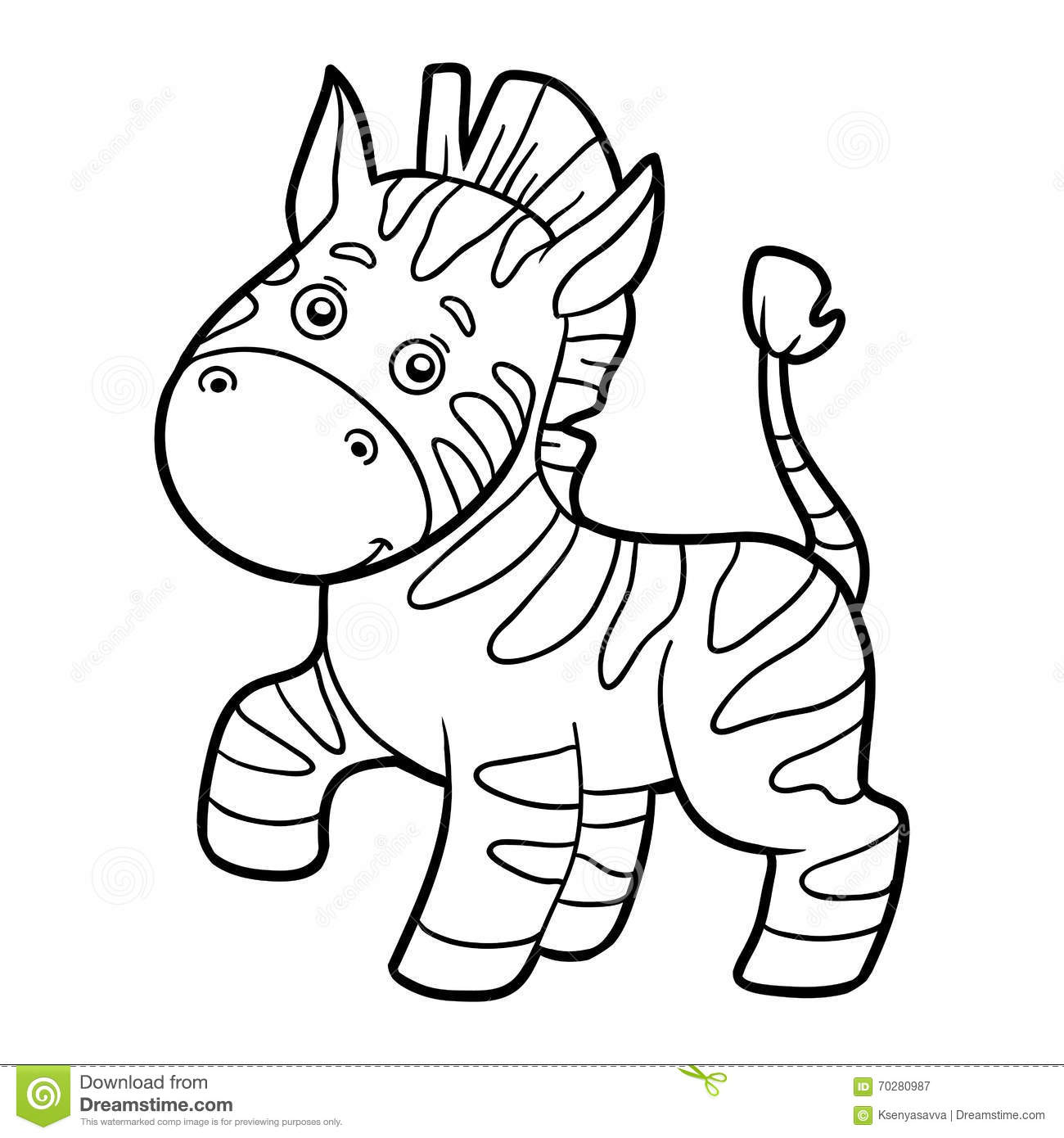 Coloring Book Coloring Page Zebra Stock Vector