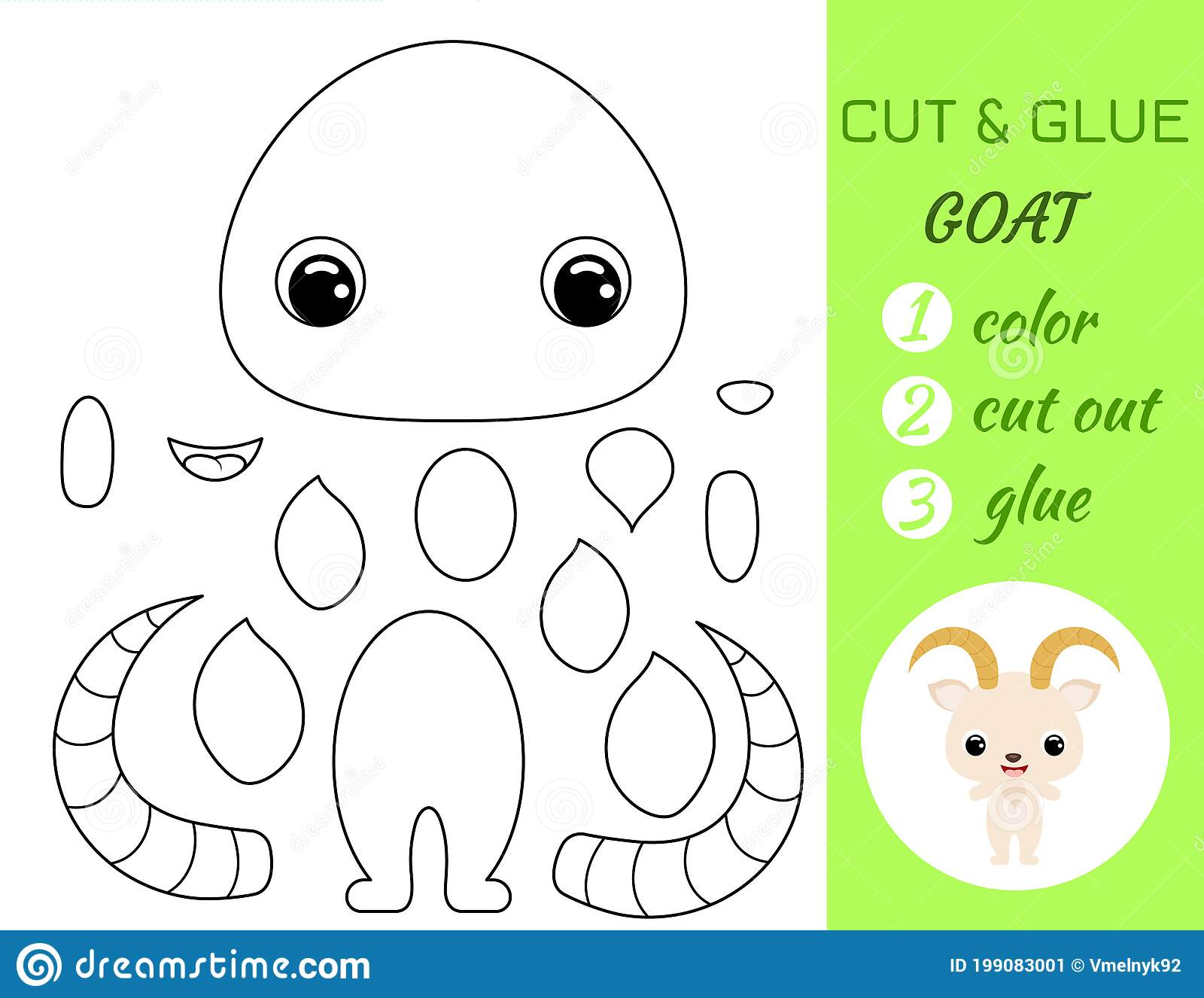 Coloring Book Cut And Glue Baby Goat Educational Paper