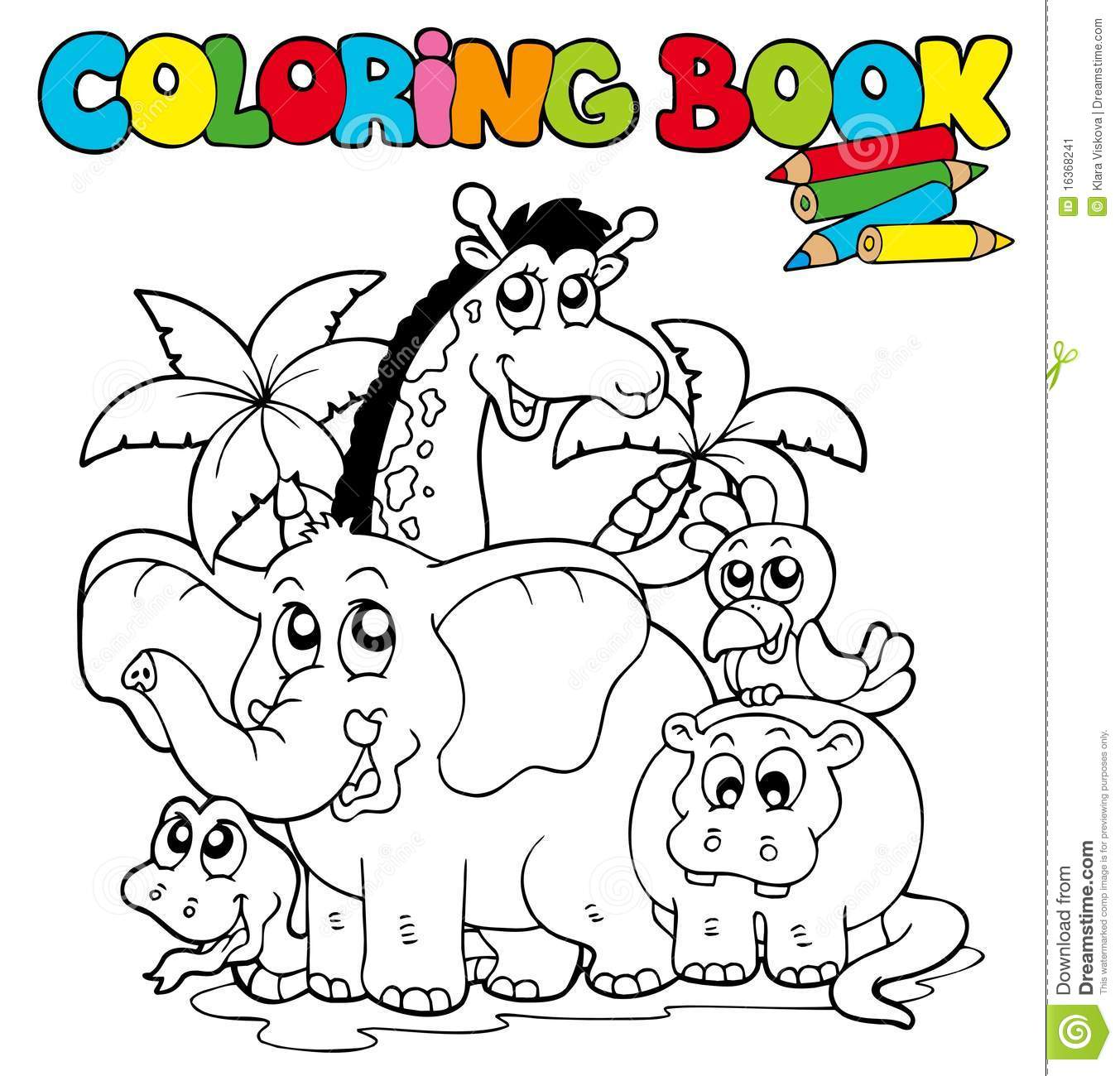Coloring Book With Cute Animals 1 Stock Vector