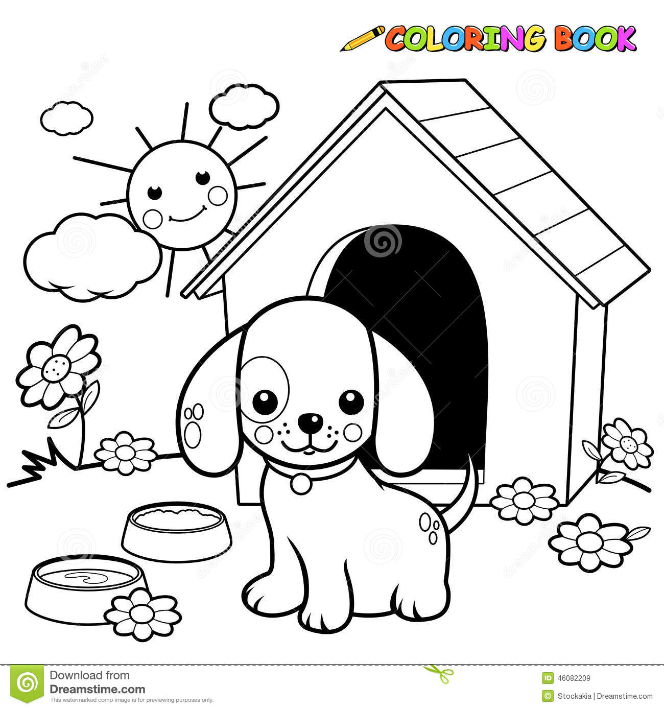 Coloring Book Dog Outside Doghouse Stock Vector