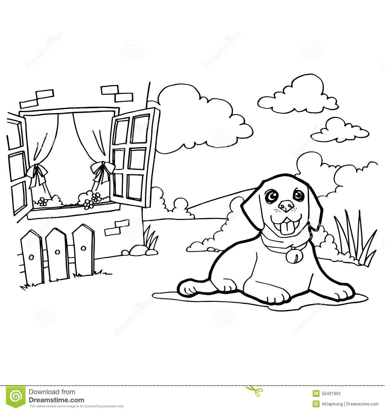 Coloring Book With Dog And Window Stock Vector