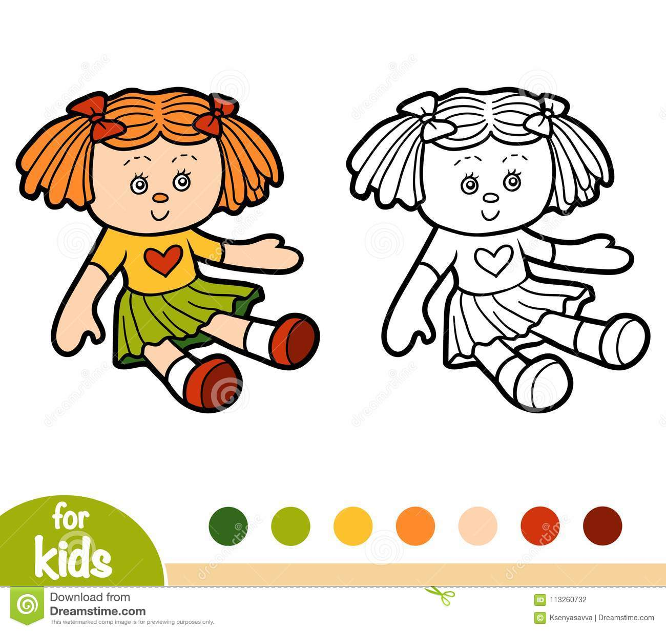 Coloring Book Doll Stock Vector Illustration Of
