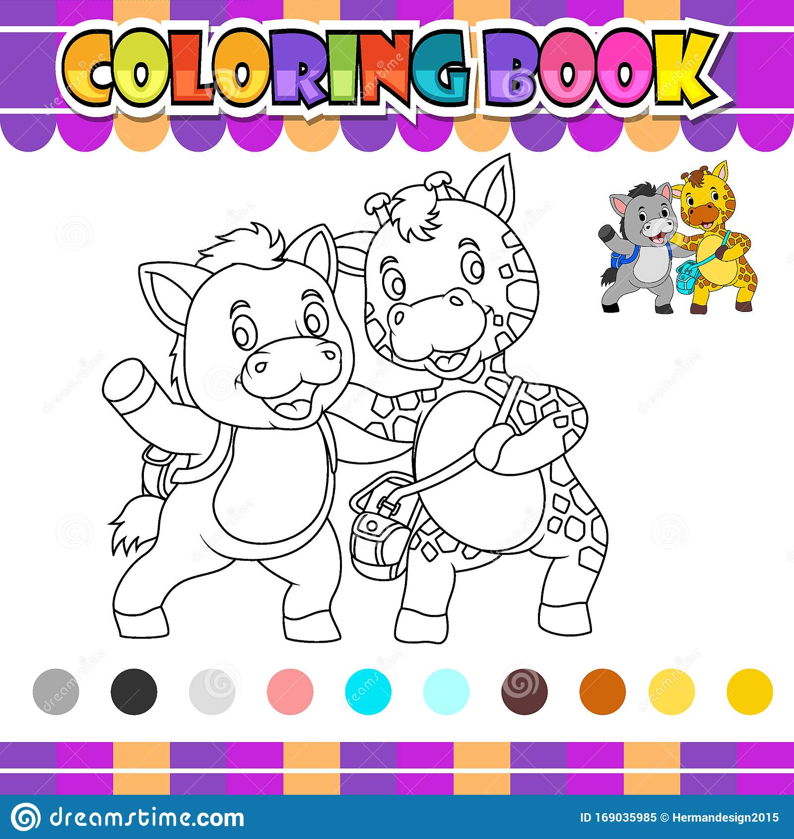 Coloring Book Donkey And Giraffe Stock Vector