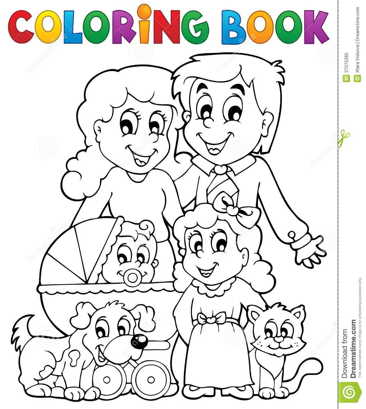 Coloring Book Family Theme Royalty Free Stock Photo